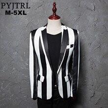 PYJTRL Brand M 5XL New Tide Men Black White Zebra Stripe Blazer Male Stage Wear Masculino Slim Fit Fashion Casual Suit Jacket