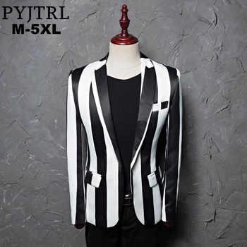 PYJTRL Brand M-5XL New Tide Men Black White Zebra Stripe Blazer Male Stage Wear Masculino Slim Fit Fashion Casual Suit Jacket - DISCOUNT ITEM  50 OFF Men\'s Clothing