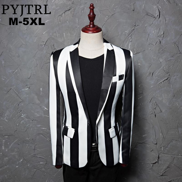 4d1bbf0d332ba PYJTRL Brand M-5XL New Tide Men Black White Zebra Stripe Blazer Male Stage  Wear Masculino Slim Fit Fashion Casual Suit Jacket