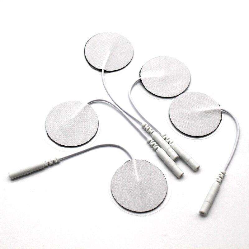 10 sztuk/partia 3.5cm okrągłe elektrody 2mm wtyczka cyfrowe urządzenie do masażu/stymulator mięśni nerwowych z kablem do fizykoterapia