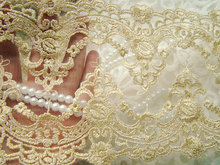 Embroidery Lace Trim Golden Lace Mesh Fabrics for Bridal Wedding Gown Supplies, GT031