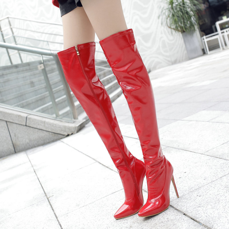 Women Sexy Thin High Over the Knee Boots Fashion Zipper Boots Ladies Pointed Toe Fall Winter Thigh Boots Black White Red women side zipper sexy thin high heel over the knee boots fashion pointed toe warm winter nightclub shoes red black white 2018