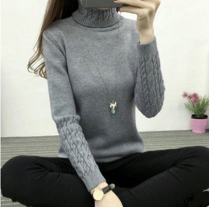 El envío libre 2017 Nuevas señoras de cuello alto suéter de las señoras suéter c