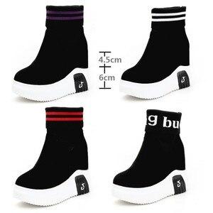 Image 5 - CANLı TAZELIK Kadın Ayakkabı Ayak Bileği Çorap Kadın Süper Yüksek Topuklu Kısa Elastik Çizmeler Sonbahar Ayakkabı Platformu Ayakkabı WY187