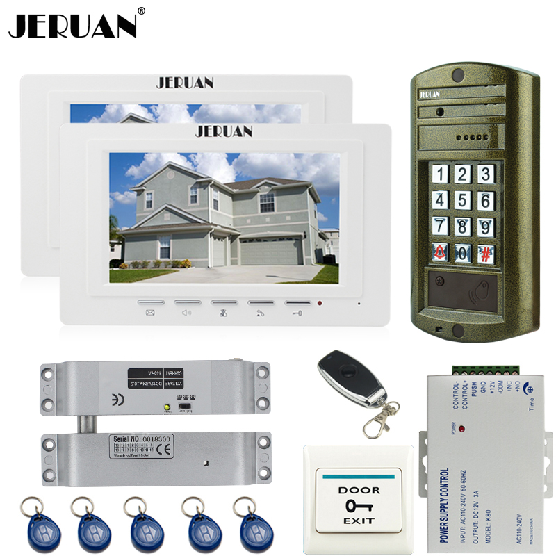 JERUAN Wired 7`` LCD Video Intercom DoorPhone System kit 2 Monitor + 1 Doorbell Metal Waterproof Access Password HD Mini Camera rfid keyboard ip65 waterproof video doorphone intercom system for 3 apartments with 7 color lcd video intercom system in stock