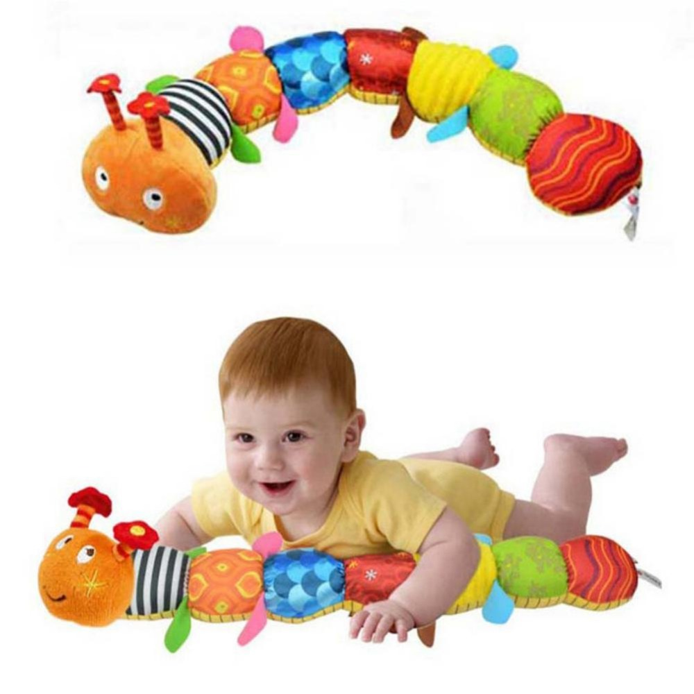 Sozzy Cartoon Musical Caterpillar Educational Baby Toy With Ring Bell Stuffed Plush Animal Kids Toys Baby Rattles Mobiles 55cm electric educational inchworm with music light toddler learning machine toy toy musical instrument huile toys 927