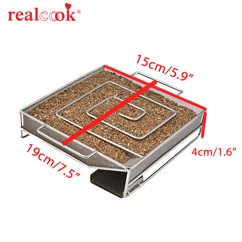 Square Cold Smoke Generator Charcoal Grill Cooking Tools Wood Chip Smoker Smoking Outdoor Grill For BBQ Tool Accessories