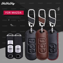 Genuine Leather Car Smart Key Shell Cover Bag Key Case For Mazda 2 3 6 Axela Atenza CX-5 CX5 CX-7 CX-9 2014 2015 2016 2017 стоимость