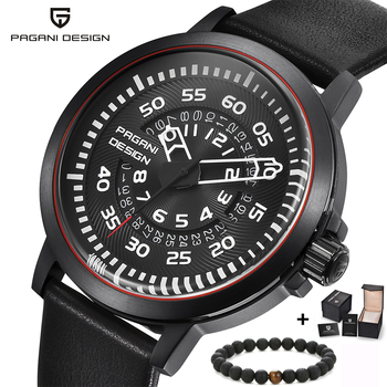 0821e1f4 PAGANI мужские часы брендовые роскошные стильные часы кожаный ремешок Новые  циферблаты дизайн вращающийся Календарь военные кварцевые