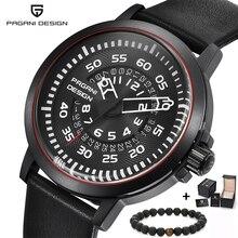 PAGANI Heren Horloges Merk Luxe Stijlvolle Horloge Lederen Band Nieuwe Wijzerplaten Ontwerp Rotate Kalender Militaire Quartz Horloge voor Mannen