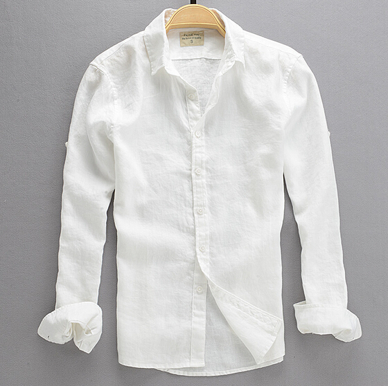 2016 Summer Fashion Male Casual Linen White Shirt Ms