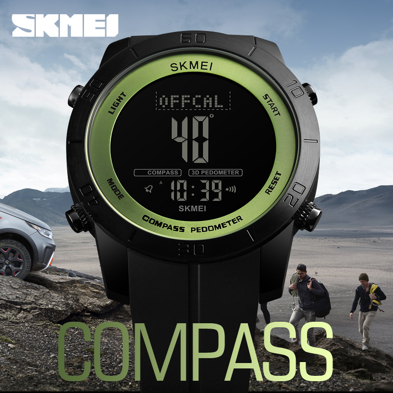 Men's Watches Capable Skmei 1354 Compass Calorie Digital Wristwatch Men Outdoor Sport Military Design Electronic Lcd Clock Countdown Relogio Masculino Fashionable And Attractive Packages