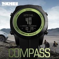 SKMEI 1354 Compass Calorie Digital Wristwatch Men Outdoor Sport Military Design Electronic LCD Clock Countdown Relogio Masculino