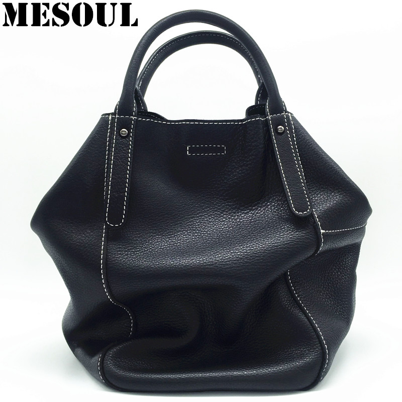 Handbags 100 Natural Soft Real leather Bucket Bag Women Tote Brand Shoulder Bags Female High Quality