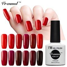 Vrenmol лак для ногтей для УФ-и светодиодной лампы темно-Красного цвета серии Гель-лак для ногтей впитывающийся здоровый экологически чистый гель для ногтей