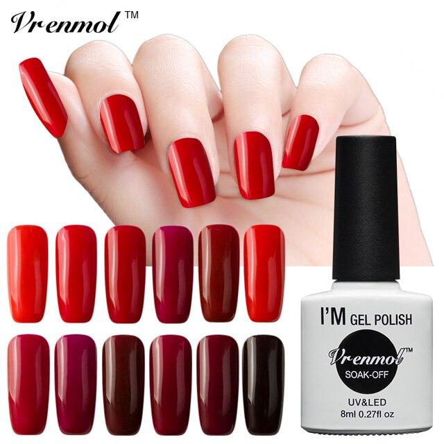 Vrenmol UV LED Esmaltes de uñas color rojo oscuro serie Uñas de gel ...