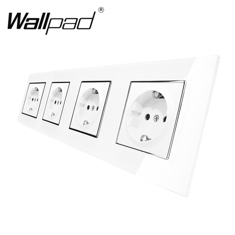 Quadruple EU Socket CE Wallpad Luxury White Crystal Glass EU Socket 4 Frame 16A Plug EU Wall Socket With Cap Claws Mount