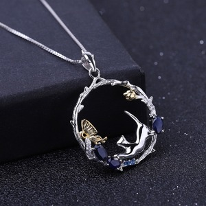 Image 2 - GEMS BALLET 0.84Ct Natural Blue Sapphire Jewelry 925 Sterling Silver Handmade Butterfly Flower Bud EPendant Necklace for Women