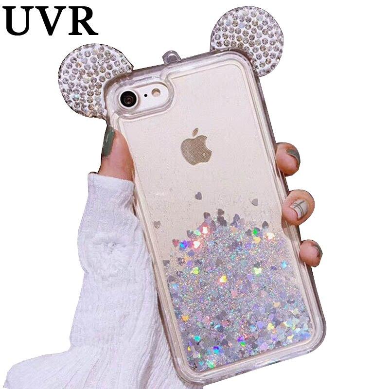 RAYONS UV Diamant Mickey Oreille Glitter Quicksand Argent Or Rose Bleu Pourpre Cas Coque Couverture Funda Carcasa pour iPhone X 6 S 7 Plus Nouveau