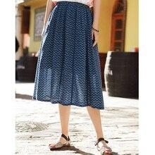 インマン夏着用ミドルスカート文学花柄スカートの女性膝丈スカート