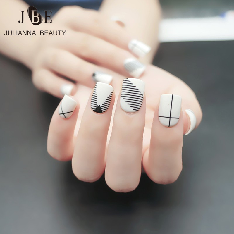 pure color short patch Manicure square natural series fake nails ...