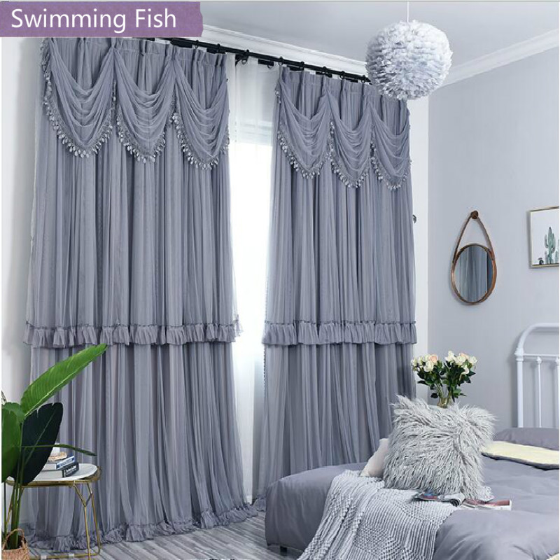 Multi Layers Blackout Cloth+Voile Curtain With Valance Lace Window Curtain Drape Custom Blind Bedroom Living Room Home Deco