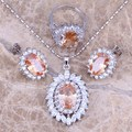 Brown Morganite White CZ  Silver Jewelry Sets Earrings Pendant Ring For Women Size 6 / 7 / 8 / 9 / 10  S0067