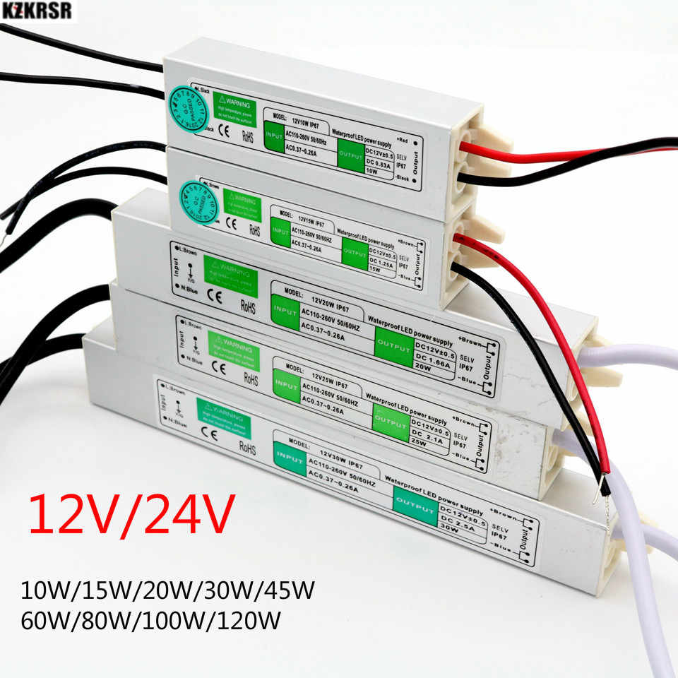 10W 15W 30W 60W 80W 100W 120W AC110V 220V TO DC 12V 24V Power Supply Adapter IP67 Waterproof  Driver Transformer for led strip