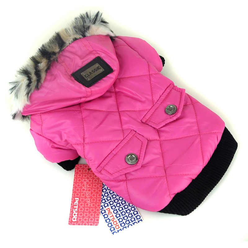 개 애완 동물 따뜻한 코트 가짜 주머니 모피 트림 개 후드 재킷 작은 개 스웨터 의류