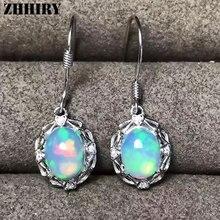ZHHIRY Real Natural Fire Opal 925 Sterling Silver Drop Earrings For Women Gemstone Eardrop Fine Jewelry