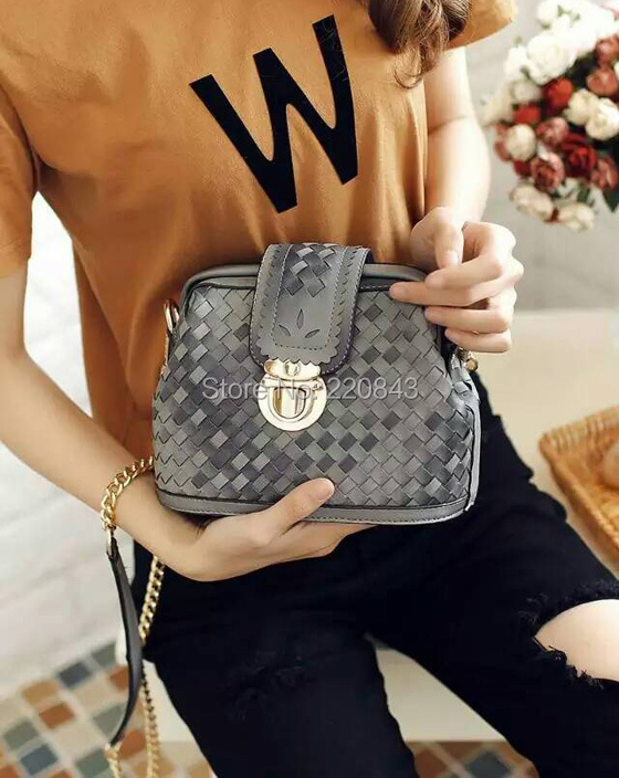 5b7a339833c3 Paris Brand Messenger bags female 2015 new arrival bucket bags high quality  PU woven designer ladies casual crossbody bag chain-in Crossbody Bags from  ...