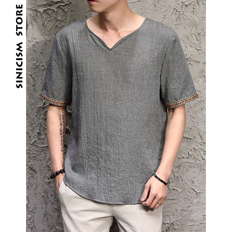 Sinicism Store 2018 Men Cotton Linen Short Sleeve T Shirt Summer Thin Fabric Chinese Traditional Clothes Male Retro t-Shirt