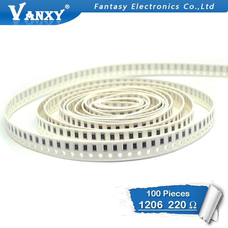 100PCS 1206 SMD Resistor 1% 220 Ohm Chip Resistor 0.25W 1/4W 220R 221