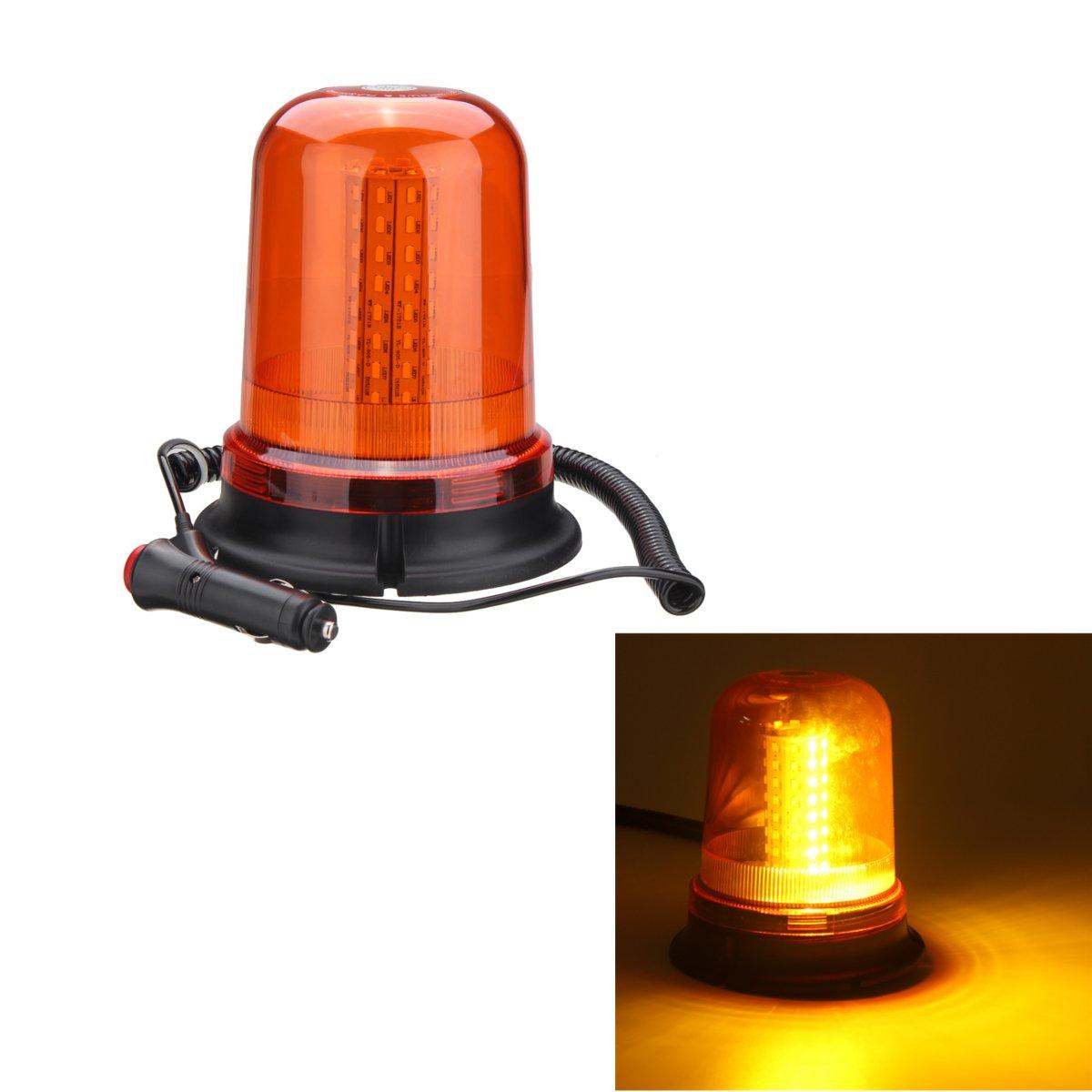 12-24V 80 LED Magnetic Mount Rotating Flashing Amber Dome Beacon Recovery Warning Light addi 12 80