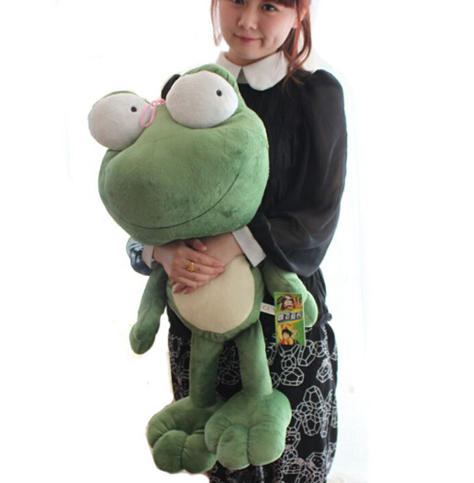 1pc 70cm funny large green frog cute soft plush doll hold pillow cushion novelty creative stuffed toy boy gift for kids couple frog plush toy frog prince doll toy doll wedding gift ideas children stuffed toy