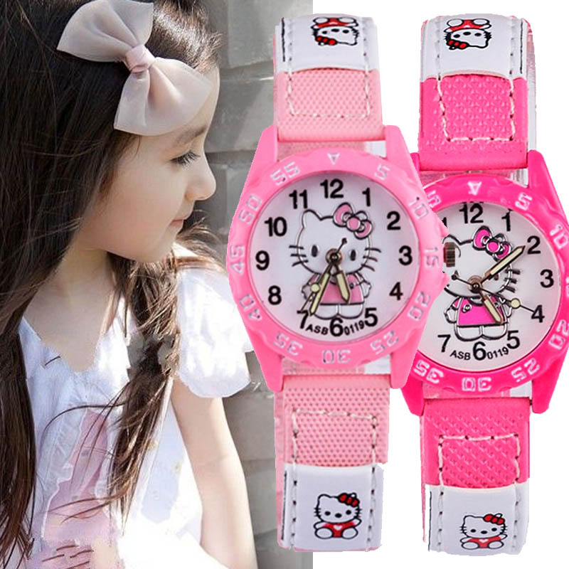 Watch For Girls Children's Watches Pink Cartoon Cat Wristwatches Rubber Band Watch Fashion Cartoon Quartz Saats relogio infantil