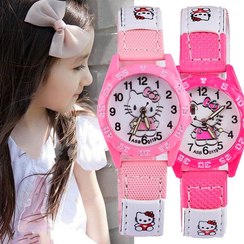 Watch For Girls Children's Watches Pink Cartoon Cat Wristwatches Rubber Band Watch Fashion Cartoon Quartz Saats Relogio Infantil