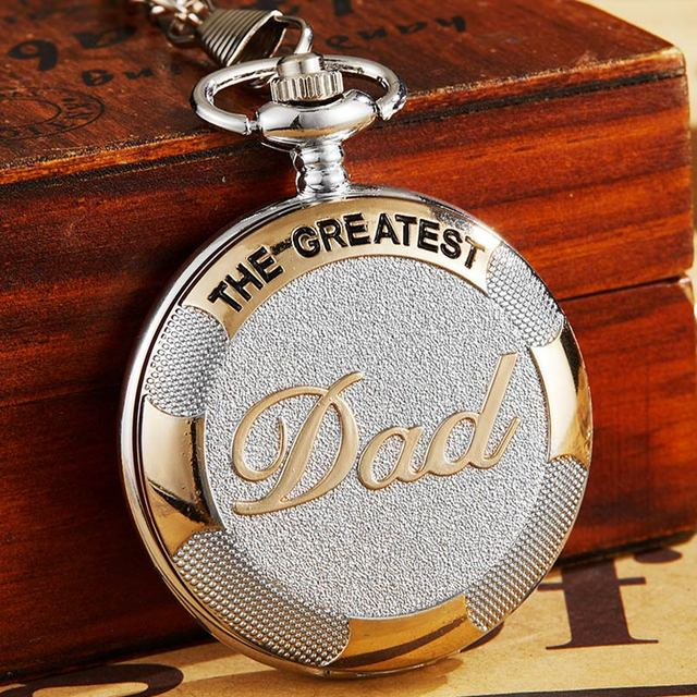 """Gift To """"My Greatest DAD"""" Quartz Pocket Watch Necklace Vintage Chain Fob Clock P"""