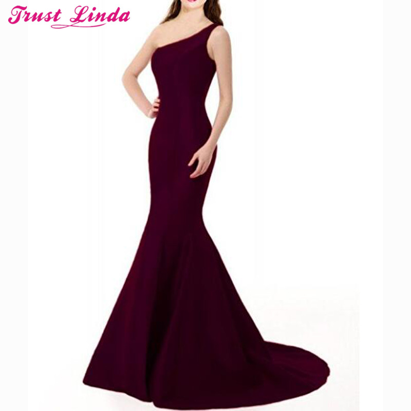 Sexy One Shoulder Purple Mermaid   Bridesmaid     Dresses   Simple Long Prom Gowns Bridal Party Wear   Dress   2018 Custom Made Wholesale