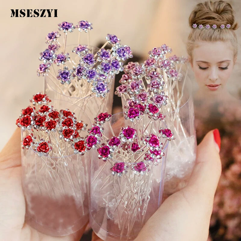 10Pcs/pack Clear Crystal Rhinestone Rose Flower Wedding Bridal Hair Clips Jewelry Barrettes   Headwear   for Women Hair Accessories