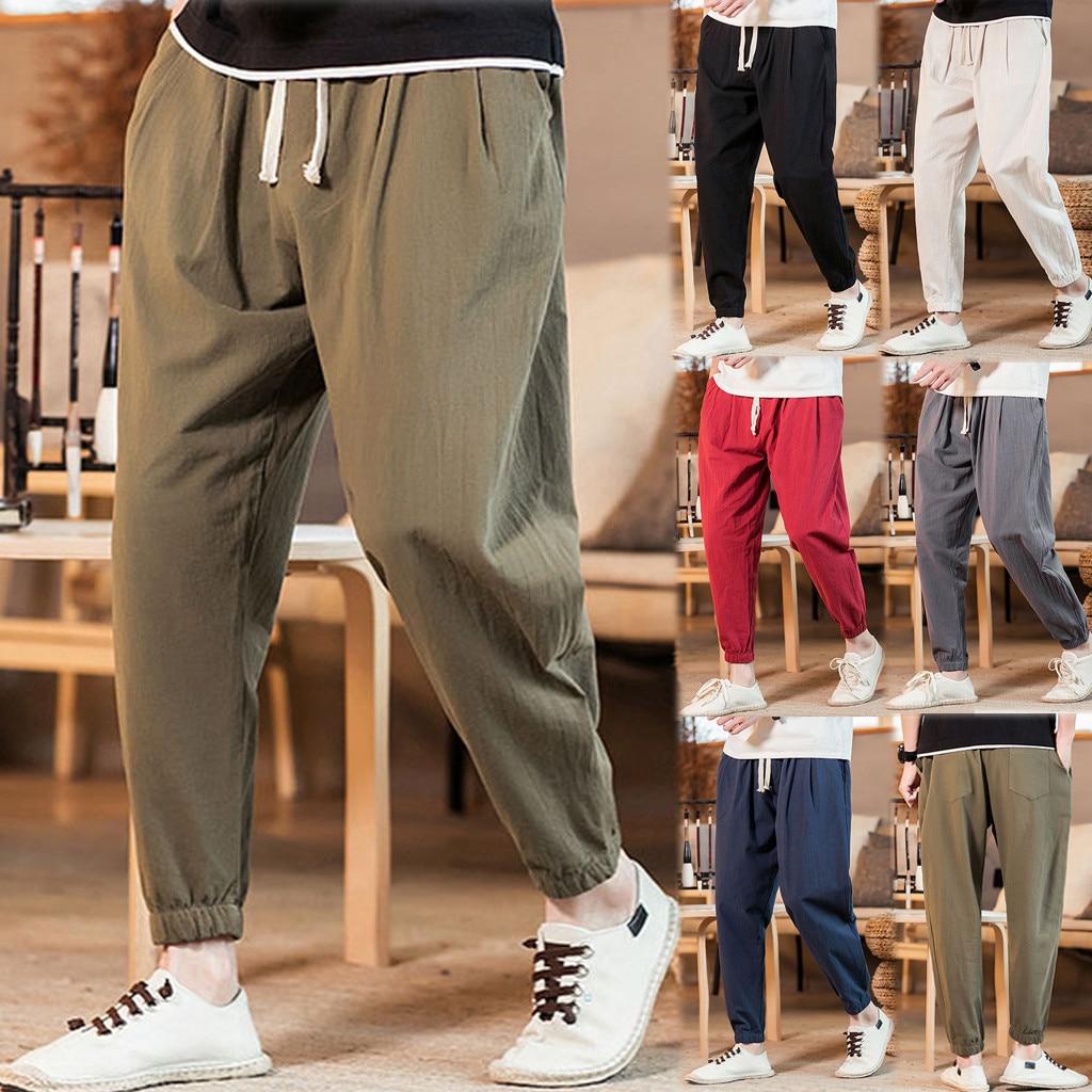 New Men's Casual Vintage Loose Cotton Linen Pure Color Comfort Ankle-Length Pant Pantalones Hombre Streetwear Joggers Sweatpants