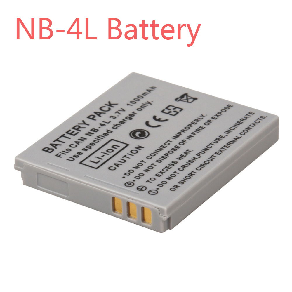 1000mAh NB-4L NB4L NB 4L Li Ion Battery Bateria For Canon IXUS 30 40 50 55 60 65 80 100 PowerShot SD1000 1100 Camera Batteries