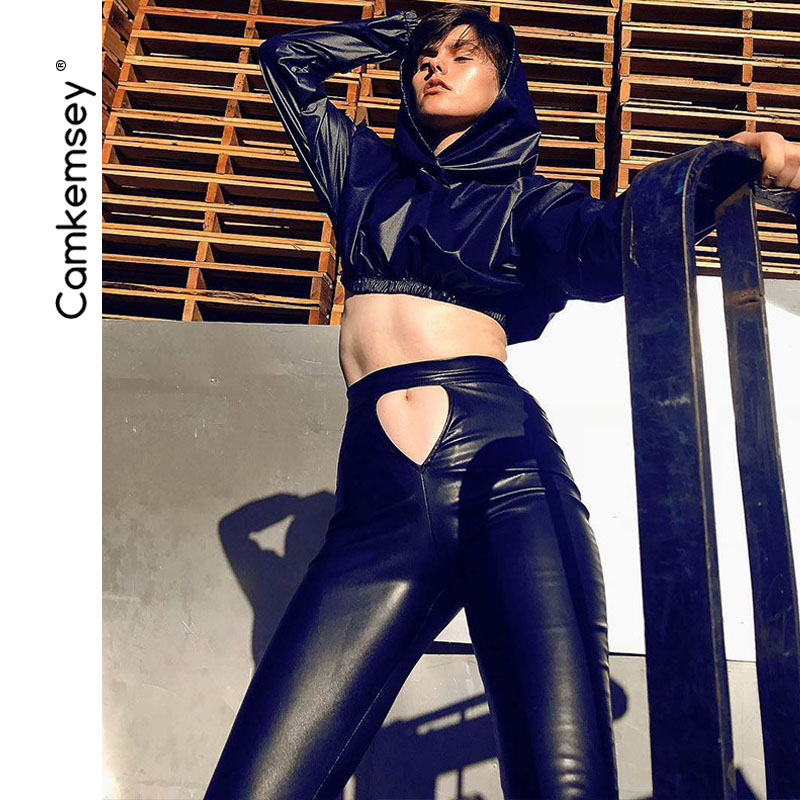 Women Sexy Hollow Out Holes Motorcycle Black PU Leather Pants 2019 Autumn Elegant High Waist Push Up Skinny Leather Pants Capris