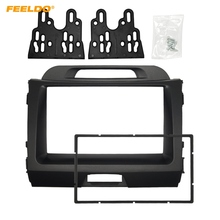 FEELDO Car 2DIN CD DVD Radio Fascia Frame for KIA Sportage 2010+ Dashboard Panel Mount Adapter Trim Kit #HQ5183