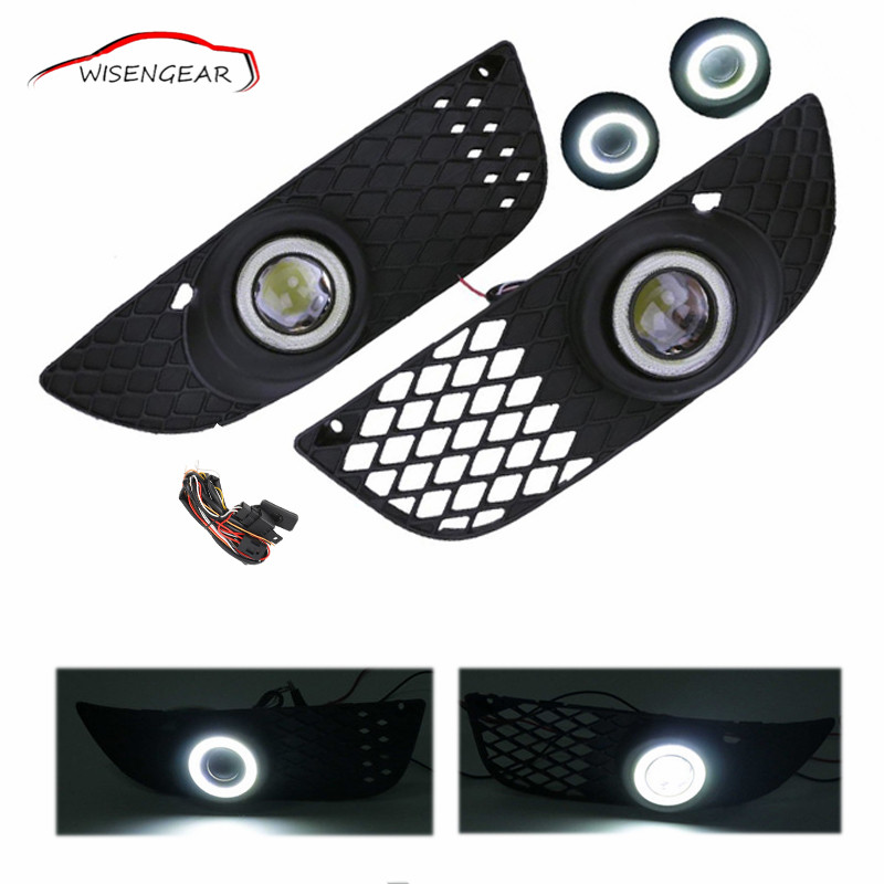 WISENGEAR Front Bumper Grille Fog Light Angel Eyes LED Lamp With Wiring Switch Kit For Mitsubishi Lancer 2008 - 2015 C/5 1set front chrome housing clear lens driving bumper fog light lamp grille cover switch line kit for 2007 2009 toyota camry
