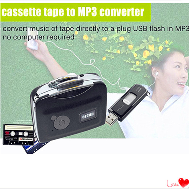 USB cassette capture Player,Tape to PC, Super Portable USB Cassette to MP3 Converter Capture with Retail Package Free Shipping