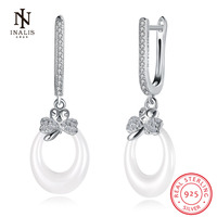 INALIS New Trend Earrings 925 Sterling Silver White Color Black Color Bowknot Ceramics Stud Earrings For
