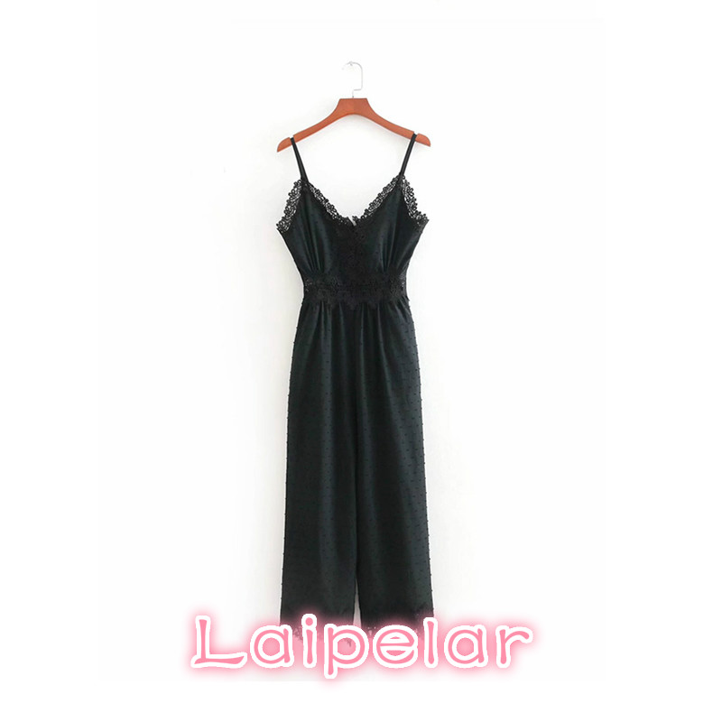 Lace V neck jumpsuits spaghetti strap sleeveless backless sexy rompers womens jumpsuit ladies casual chic black playsuits in Jumpsuits from Women 39 s Clothing