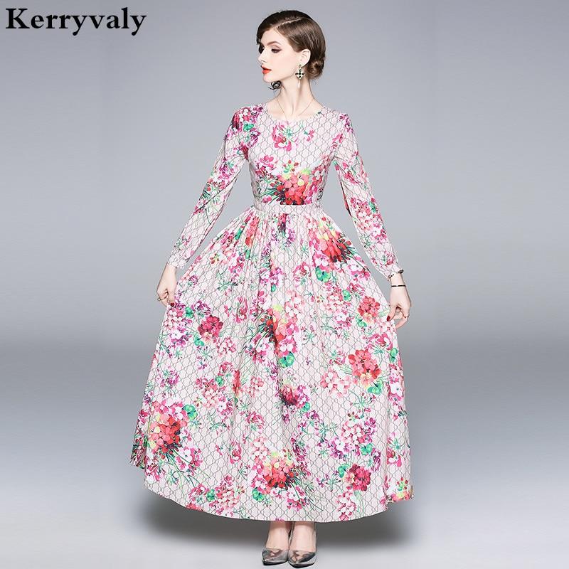 Automne fleur rose imprimé à manches longues Maxi robe femmes robe de piste Designers 2019 grande balançoire longue robe de soirée Ropa Mujer K8979