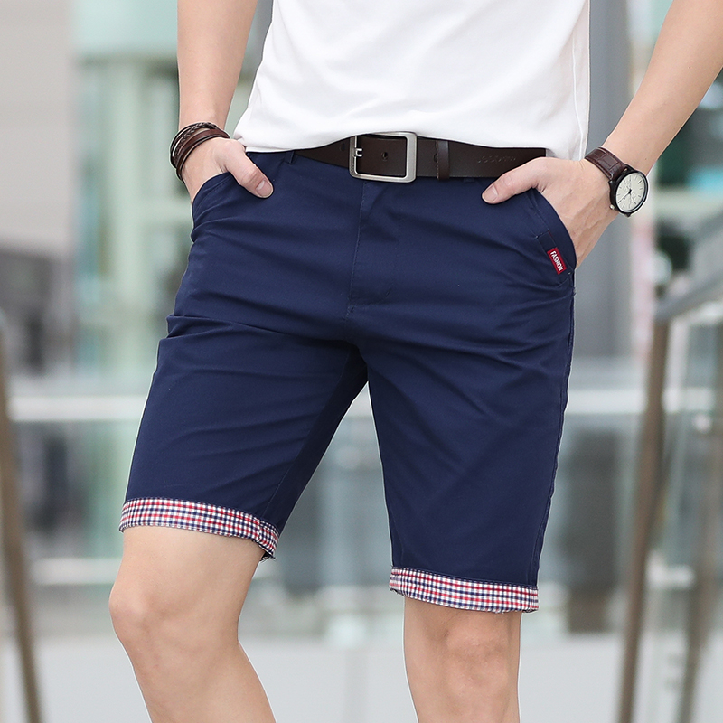woodvoice Summer Casual Plaid Hem Cotton Short Pants Streetwear Shorts Bermuda Homme